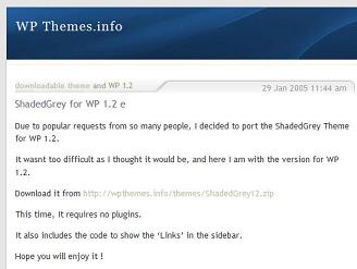 ShadedGrey for WP 1.2 Screenshot