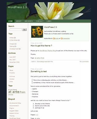 Screenshot for the GreenFlower Theme